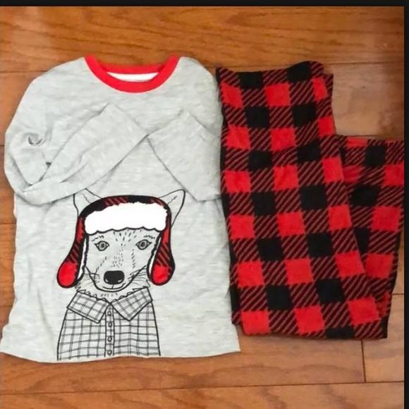 cat &jack gray and red Christmas pajamas set #A208